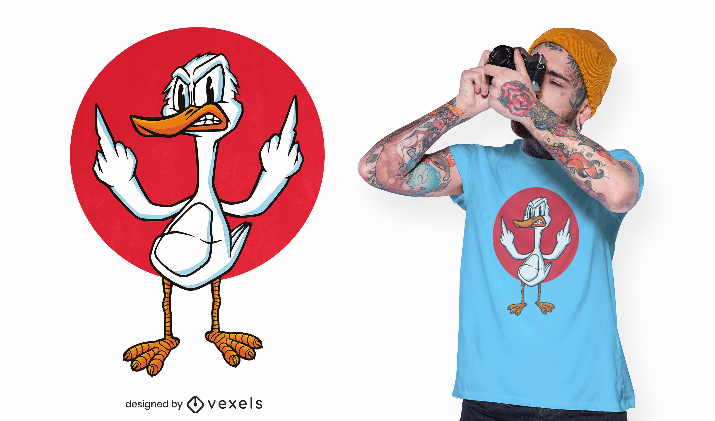 Diseño de camiseta de pato de dibujos animados enojado
