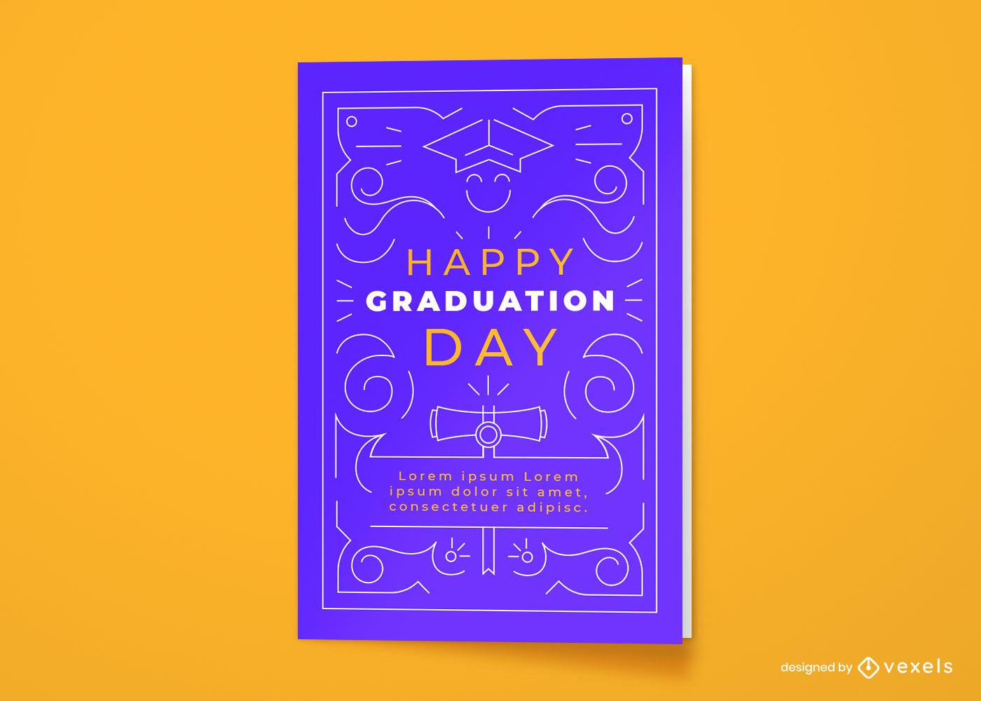 Diseño de trazo de tarjeta de felicitación del día de graduación