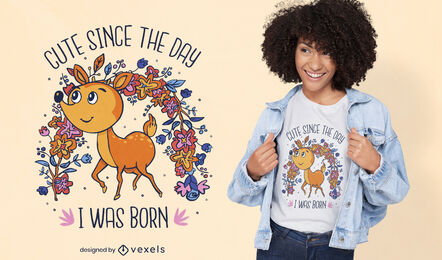 Diseño de camiseta de naturaleza de dibujos animados de animales de ciervo
