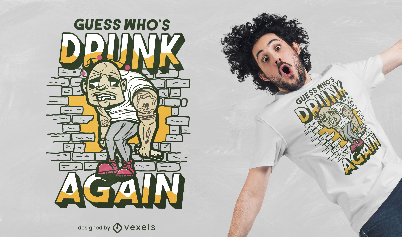 Design de camiseta engra?ada para homem b?bado