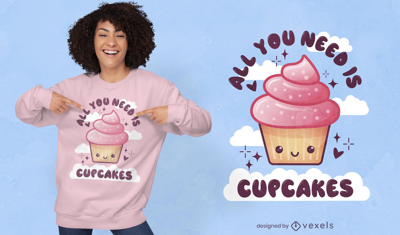 Design de t-shirt fofa de cupcake de comida doce