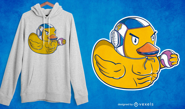 Design de camiseta de pato nadador de pólo aquático