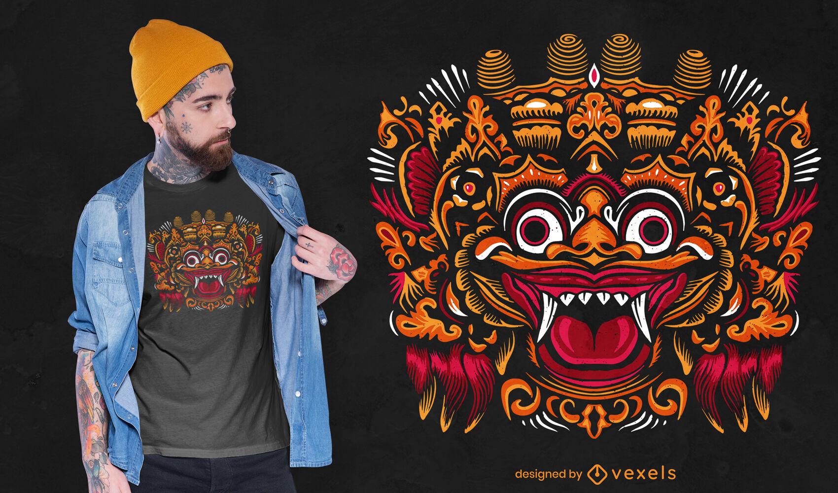 Traditional bali mask t-shirt design