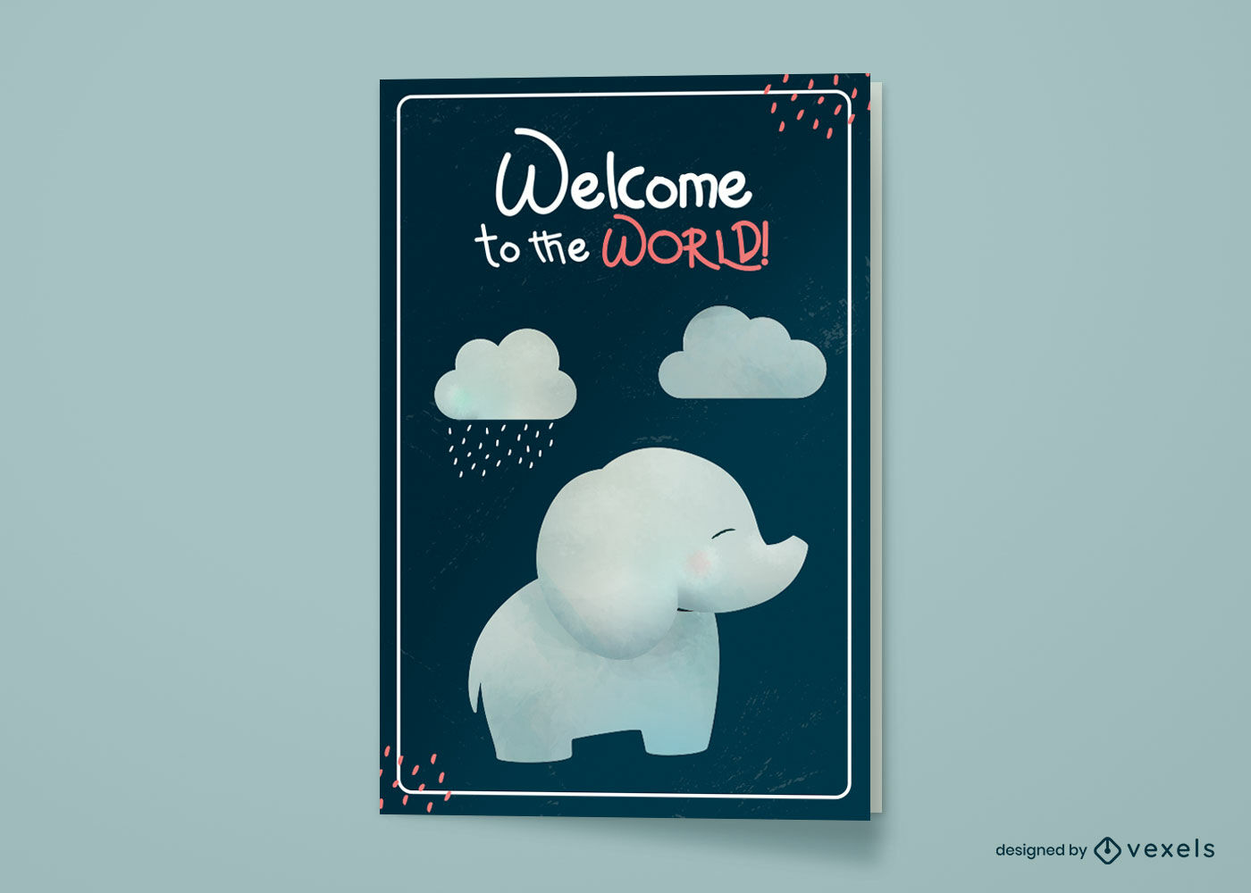 Baby elephant new baby greeting card design