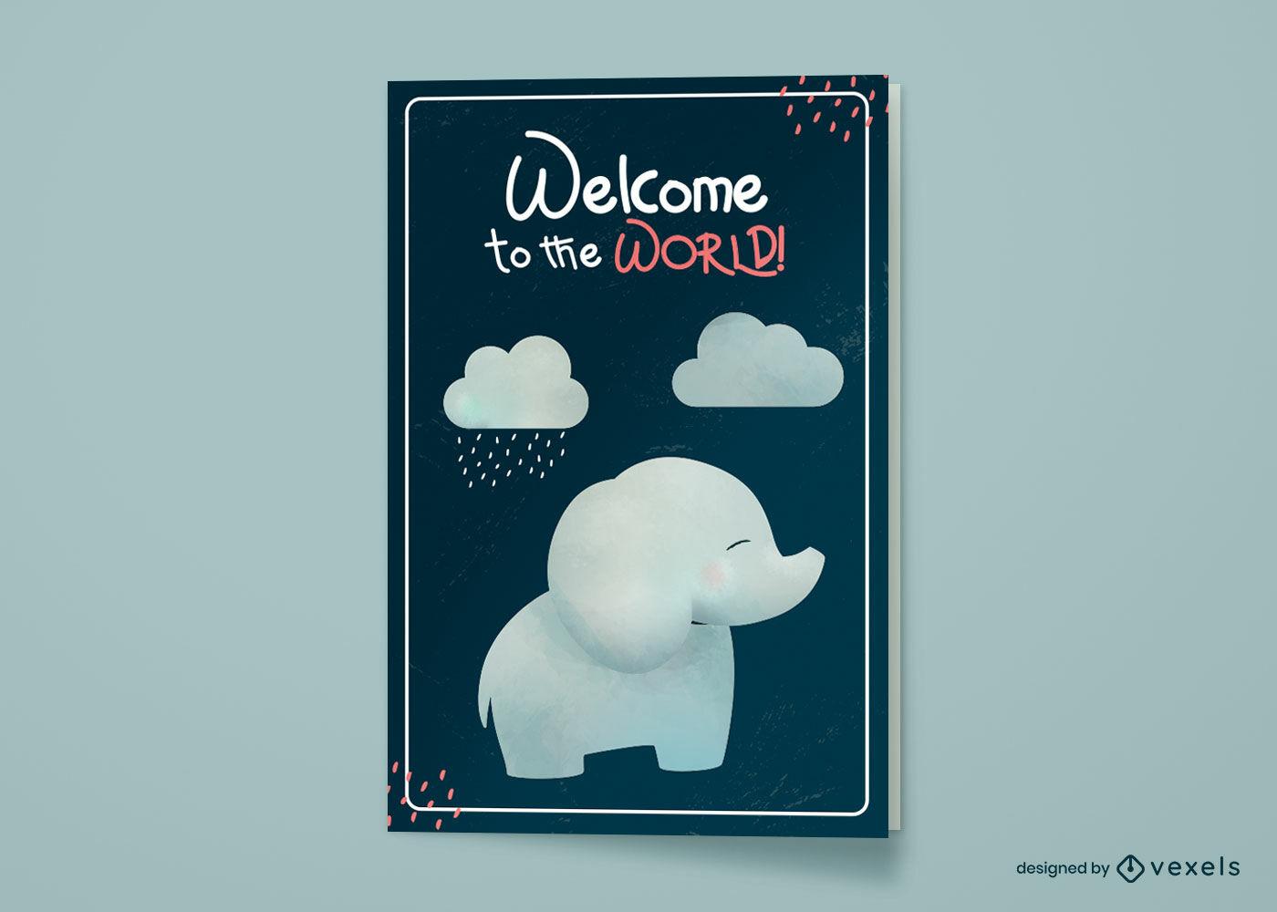 Diseño de tarjeta de felicitación de bebé elefante bebé nuevo