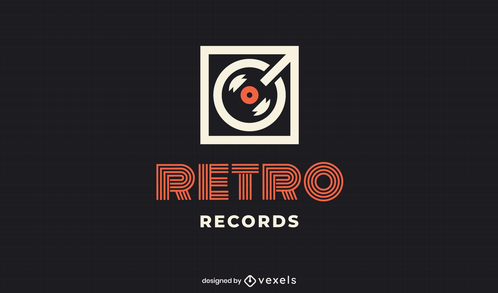Flaches Logo für Vinyl-Player