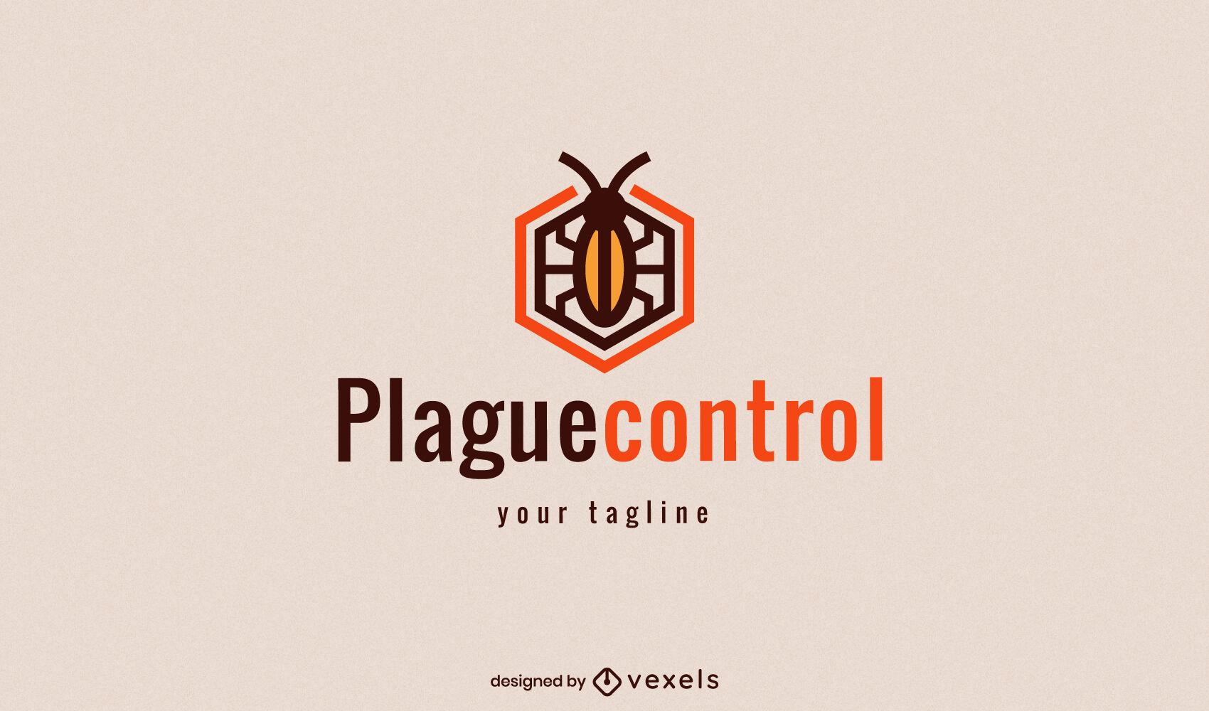 Logotipo de error de plagas de trazo de color geométrico