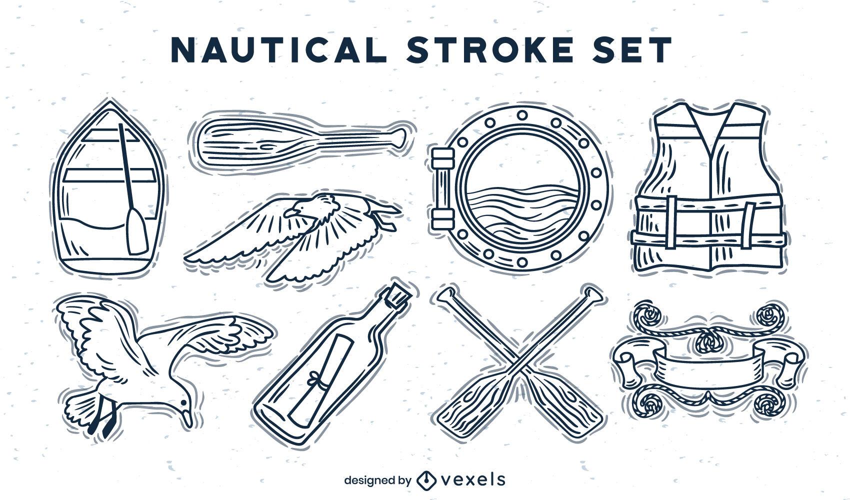 Ship nautical elements ocean stroke set