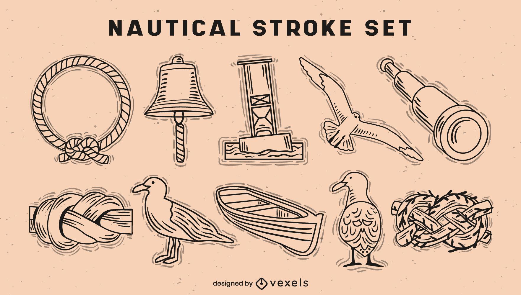 Nautical elements ocean stroke set