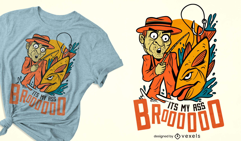Design engraçado de camiseta de pesca