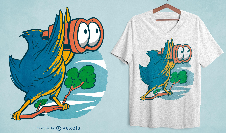 Pájaro con diseño de camiseta binoculares.