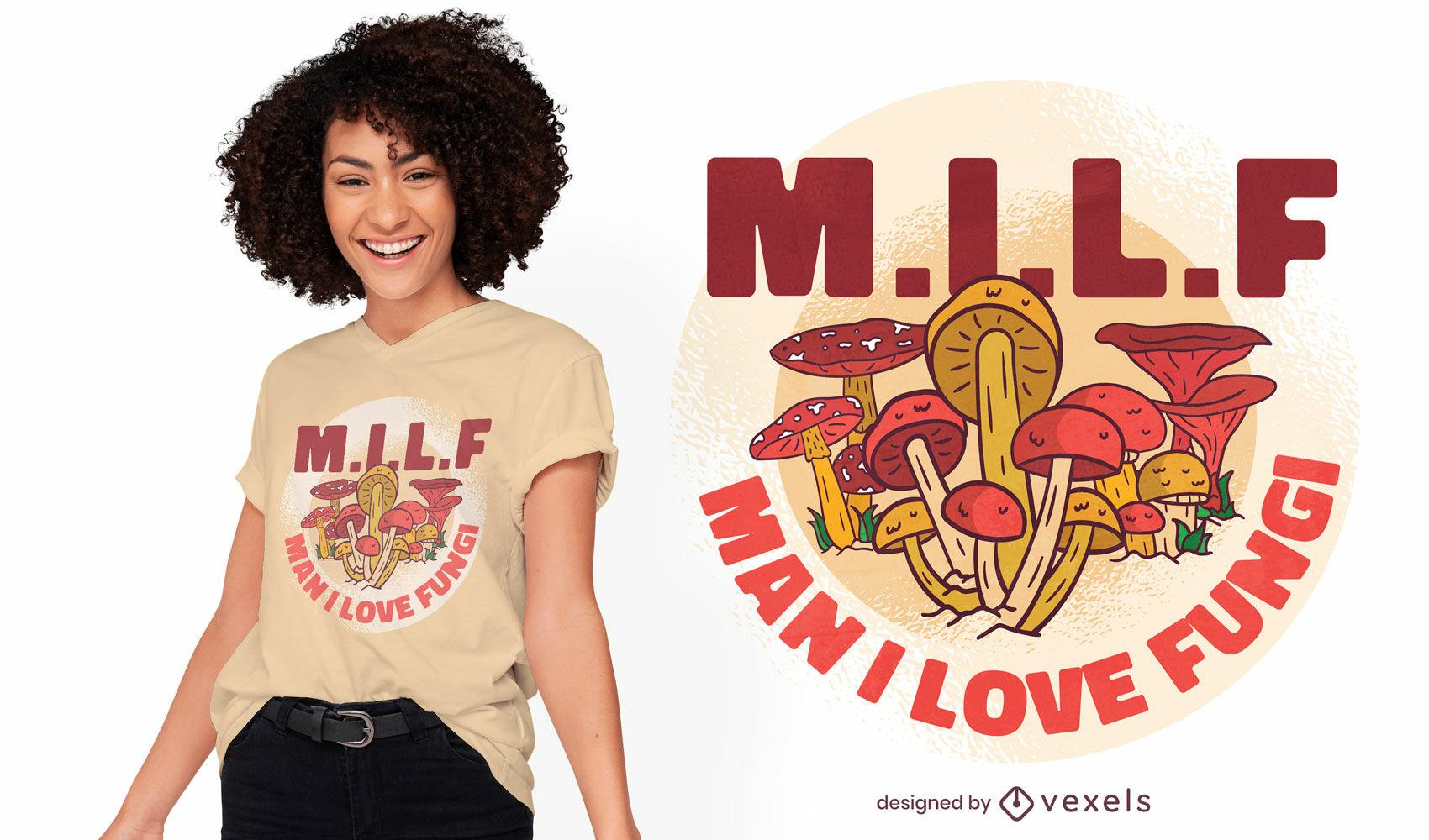 Diseño de camiseta de hongos milf