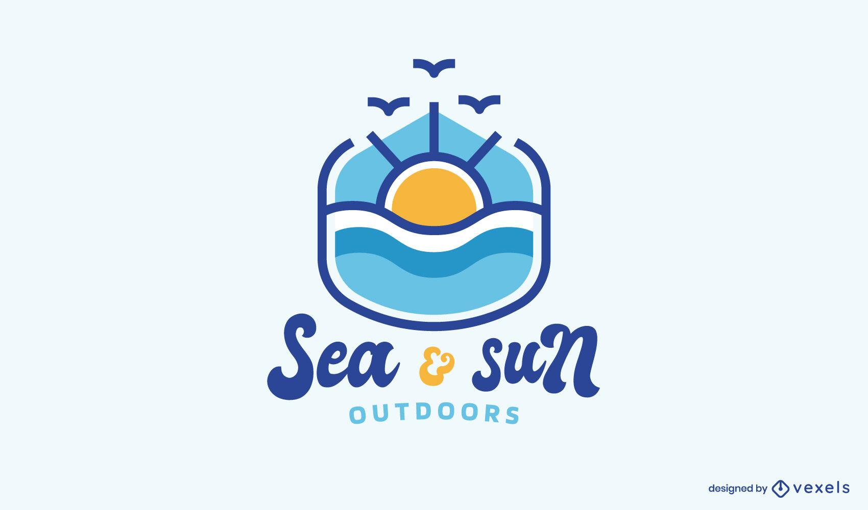 Sol sobre el diseño del logotipo de la naturaleza del océano