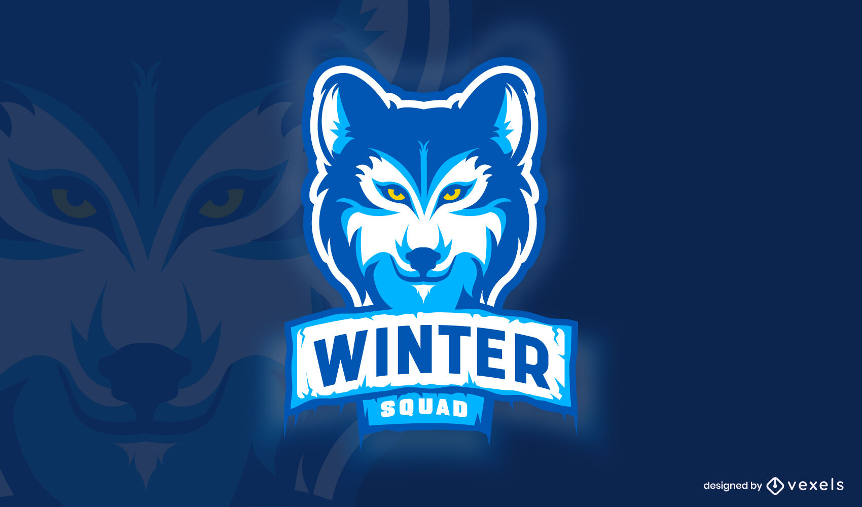 Modelo de logotipo de lobo de inverno animal selvagem