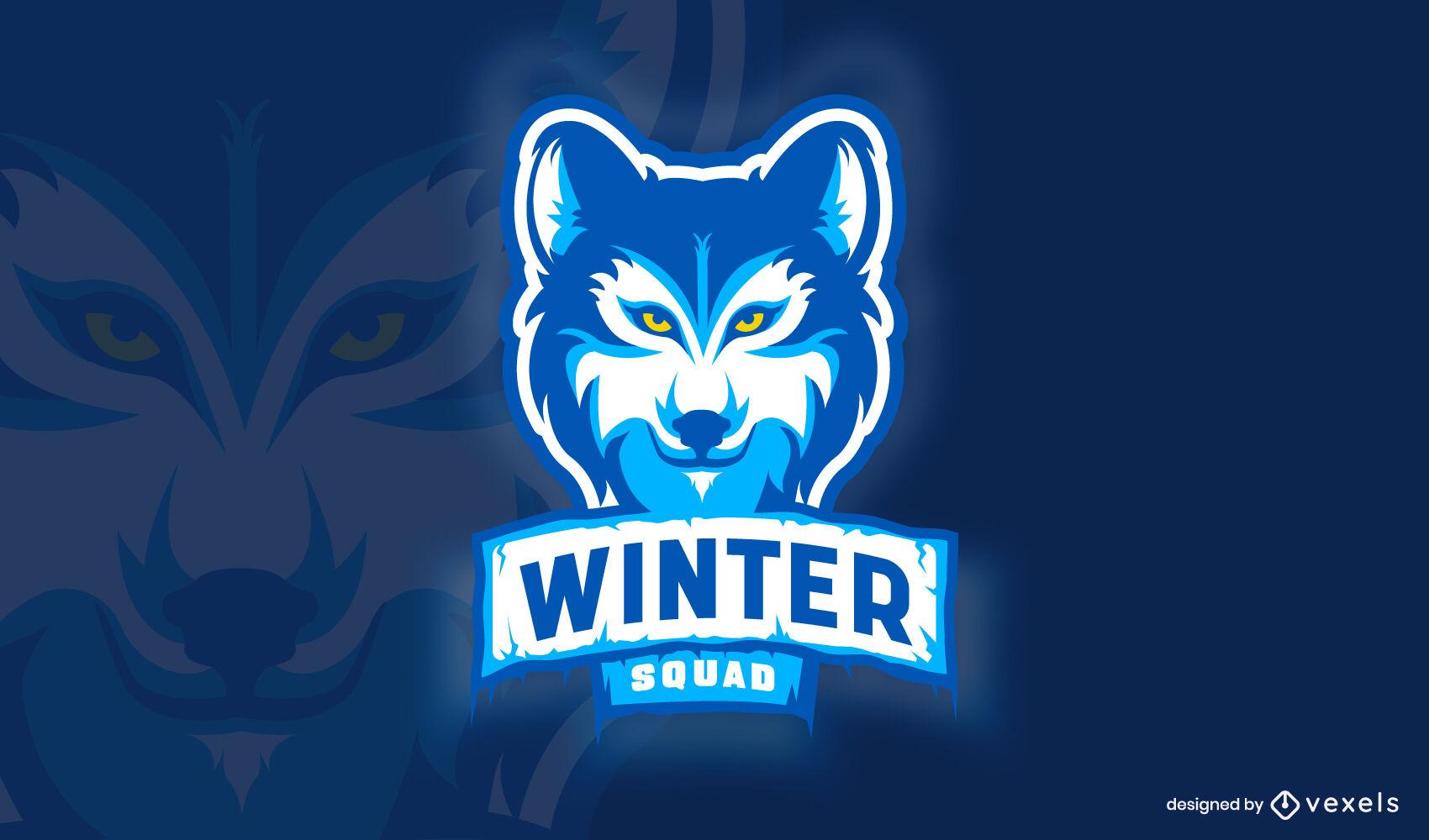 Winter wolf wild animal logo template