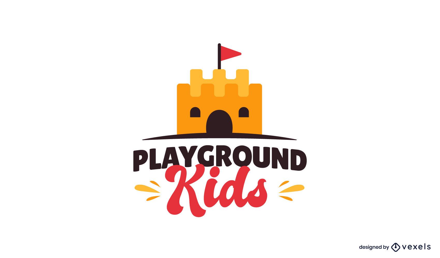 Childrens playground castle logo design