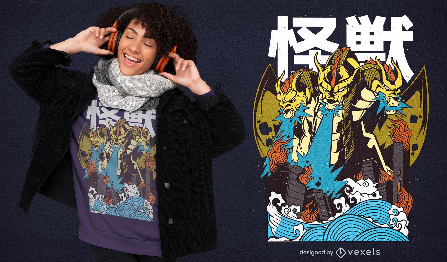 Design de camiseta da criatura Ghidorah