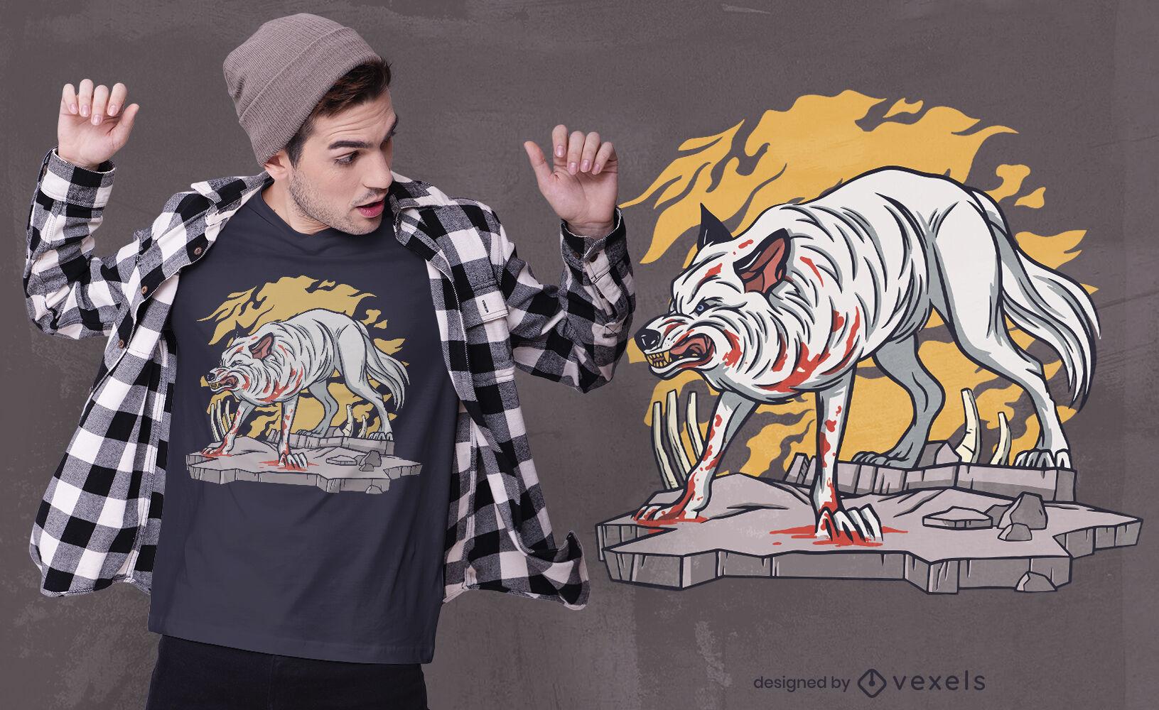 Bloody wolf t-shirt design