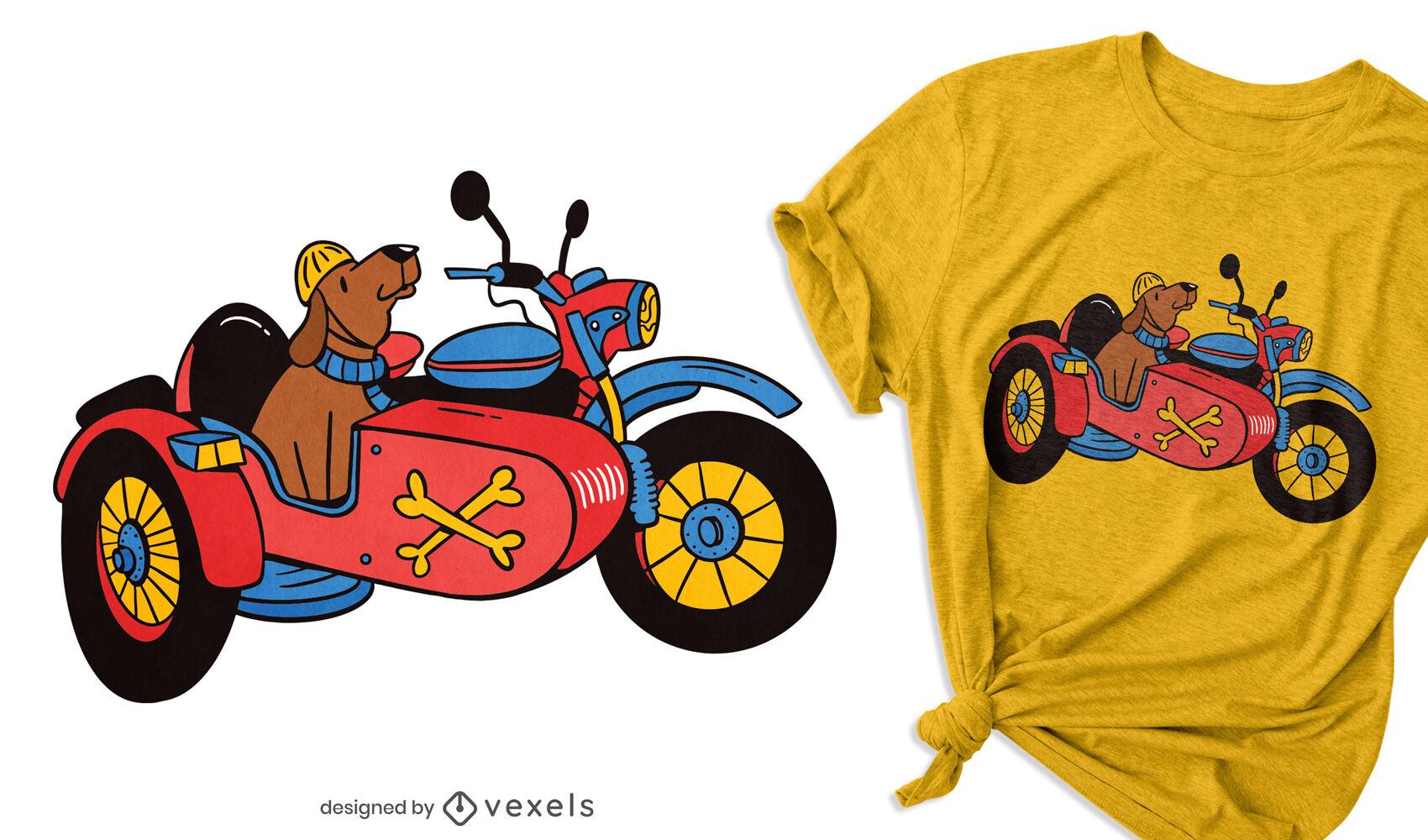 Perro en diseño de camiseta de sidecar.