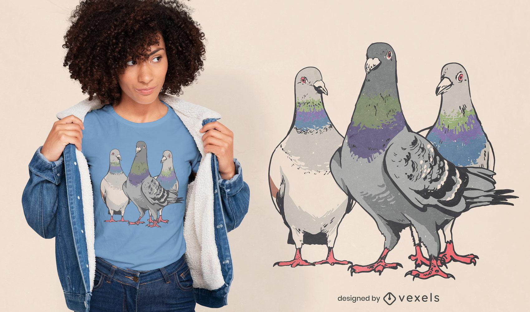 Diseño de camiseta de tres palomas.
