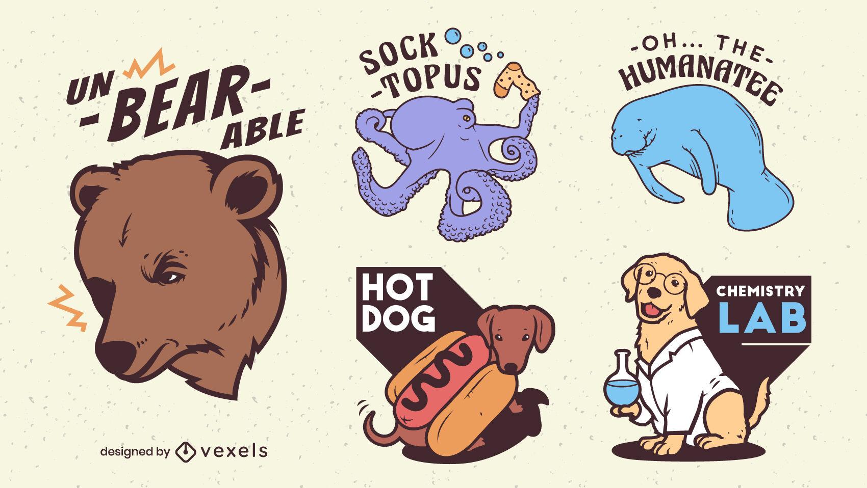 Divertido juego de pegatinas con frases de juego de palabras de animales