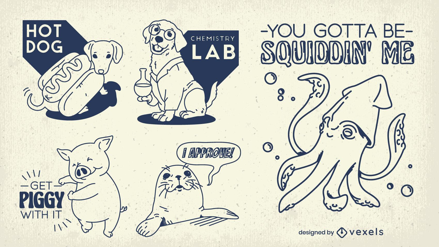 Conjunto de pegatinas de citas divertidas de animales lindos