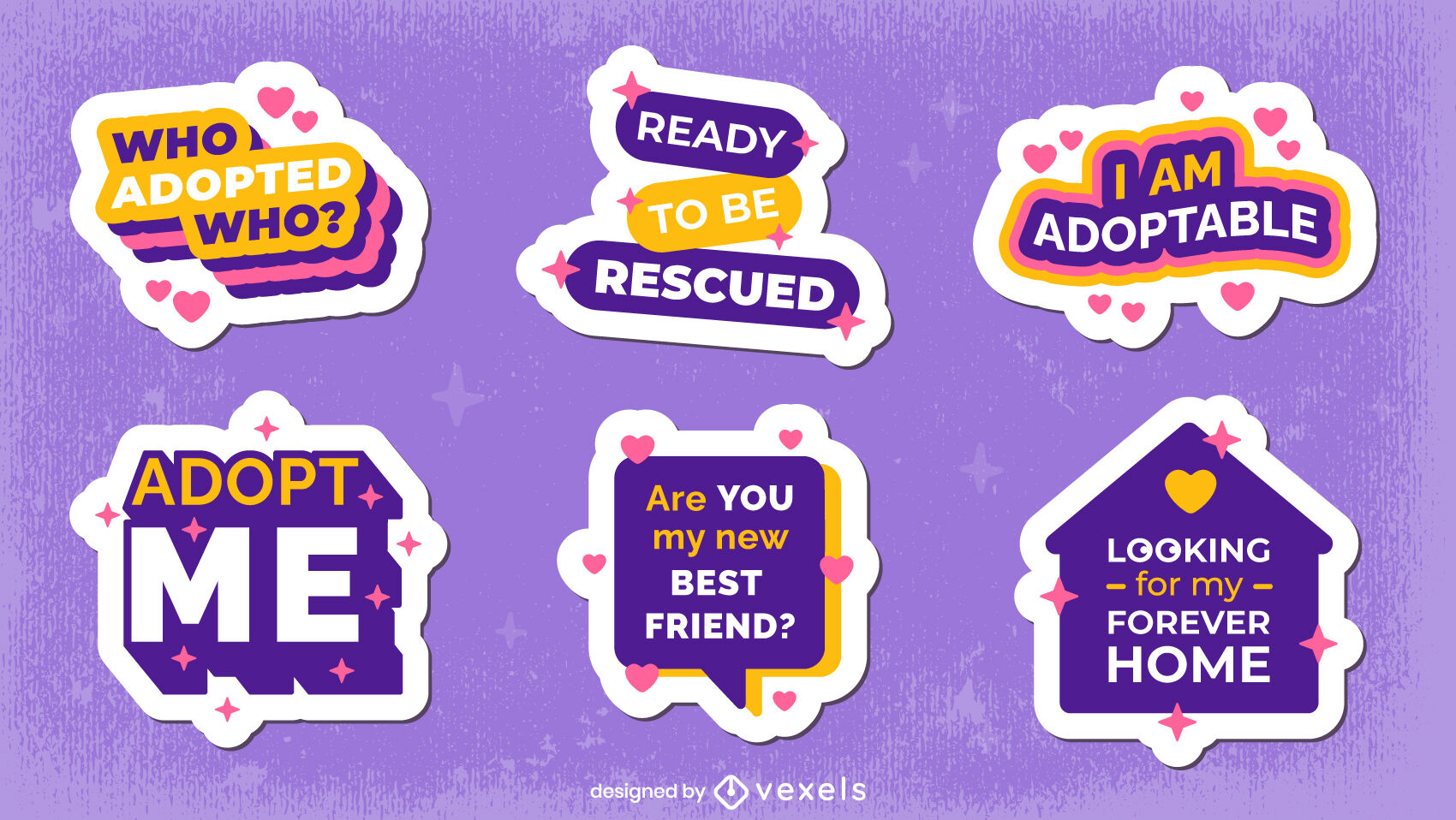 Rescue dogs animal flat badge quote set
