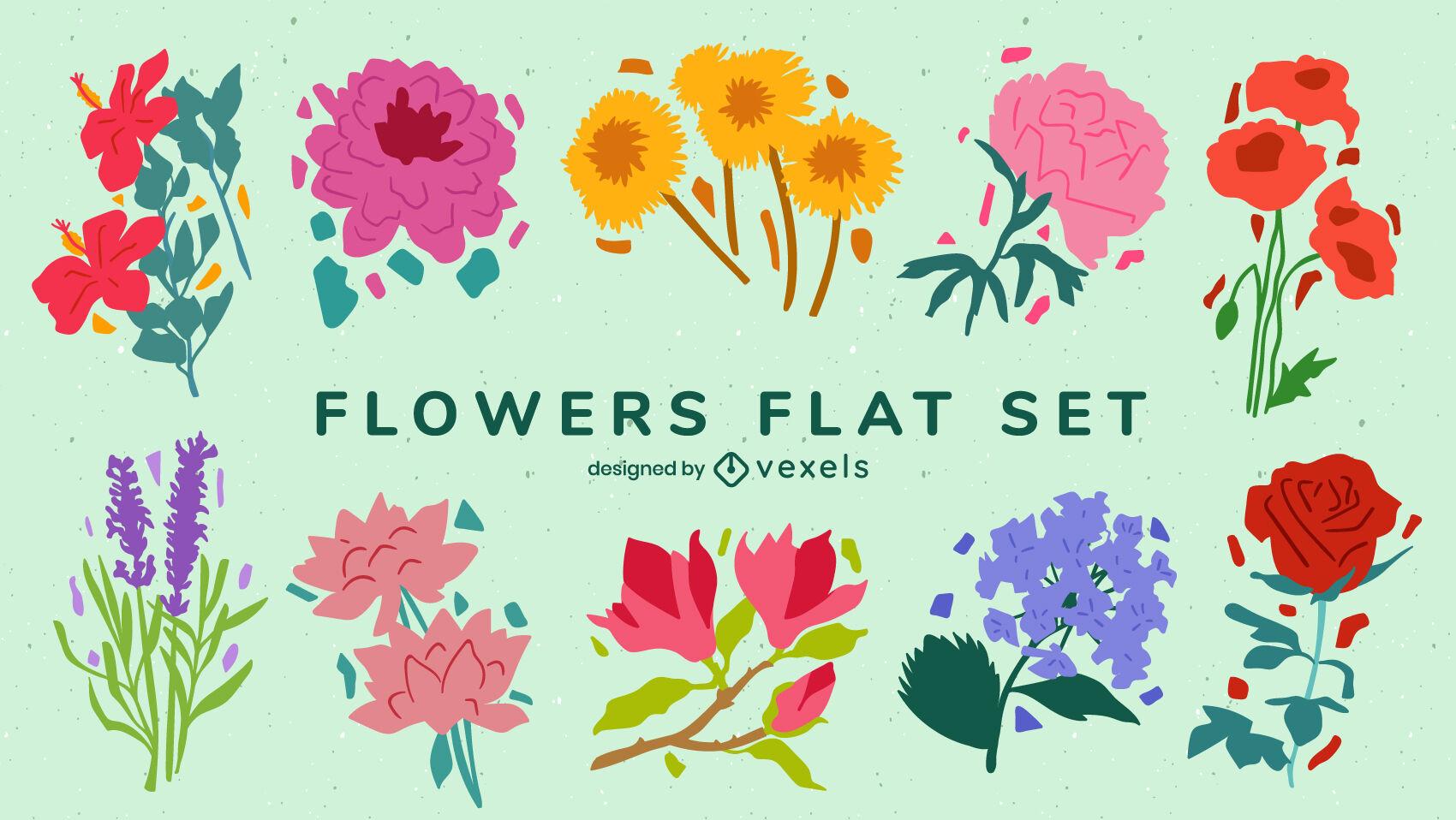 Flower bouquets garden nature flat set