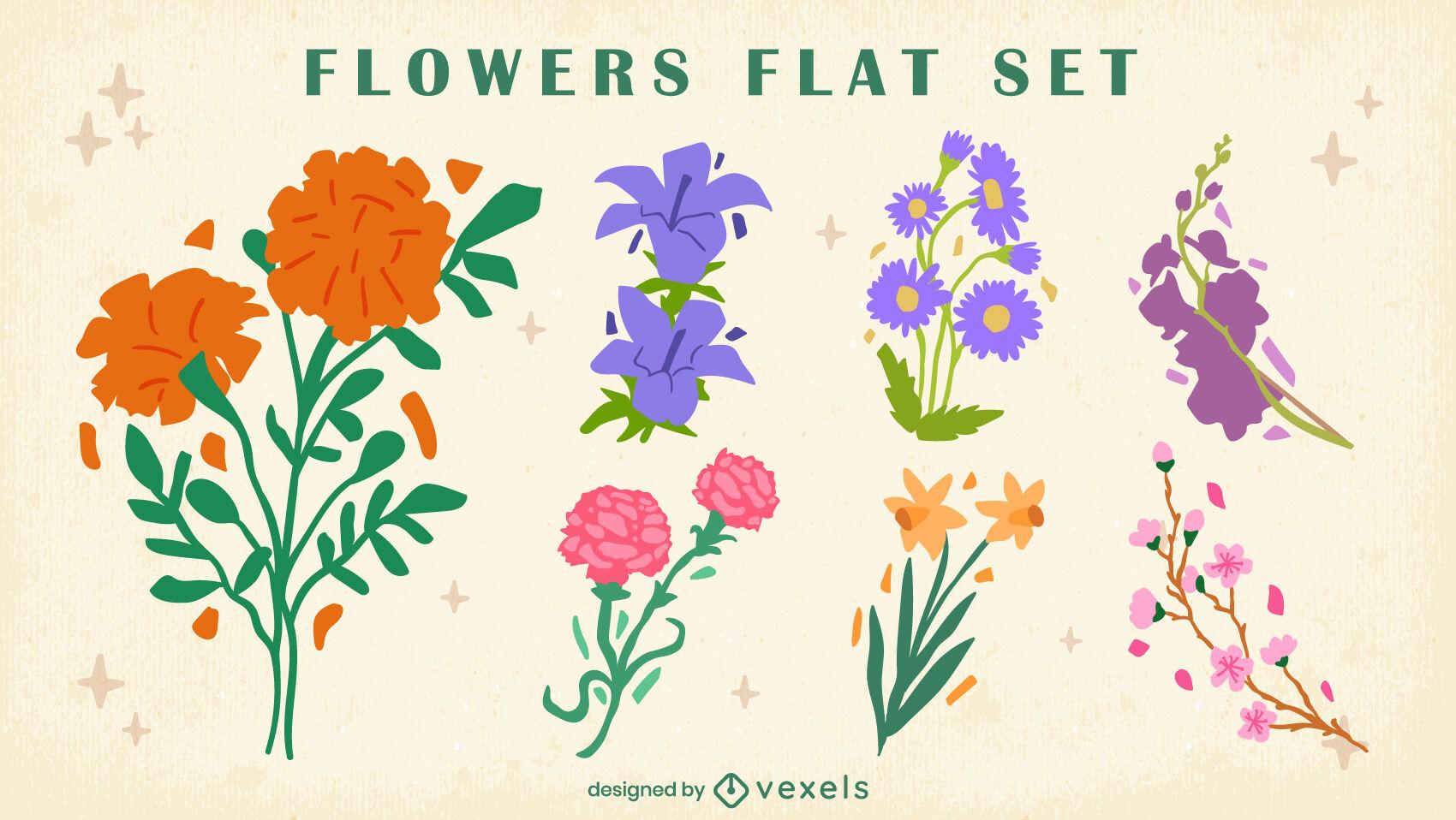 Arreglos florales naturaleza plana conjunto.