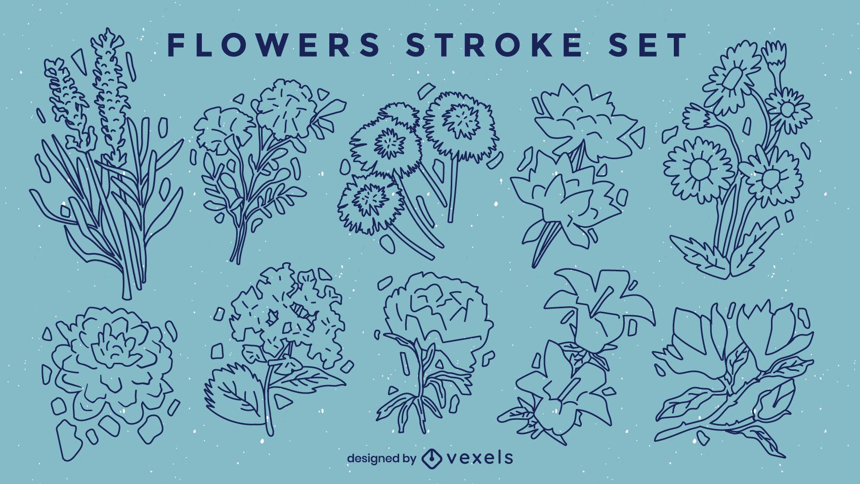 Conjunto de trazos de naturaleza de arreglos florales.