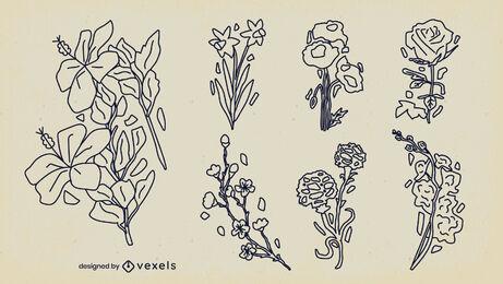 Paquete de trazos de naturaleza de arreglos florales