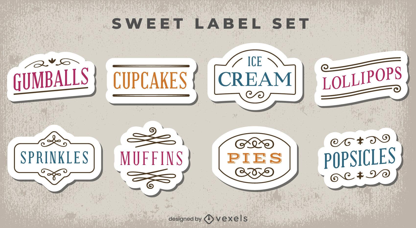Sweet treats labels set