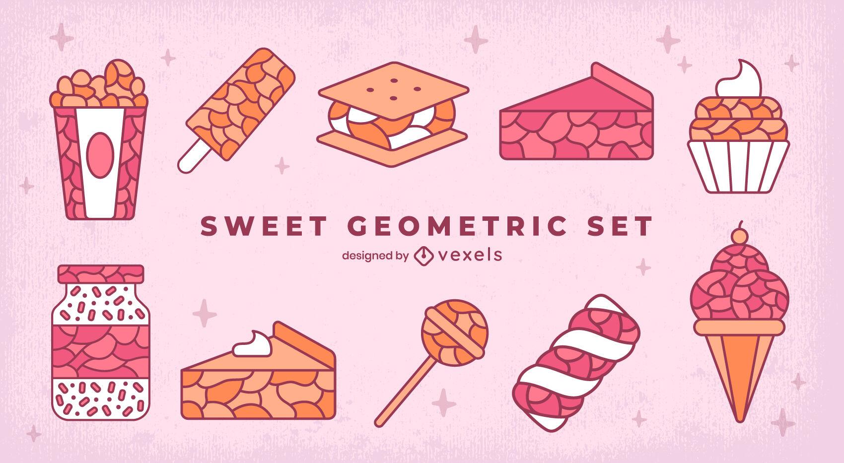Conjunto de traços de cores geométricas de guloseimas doces