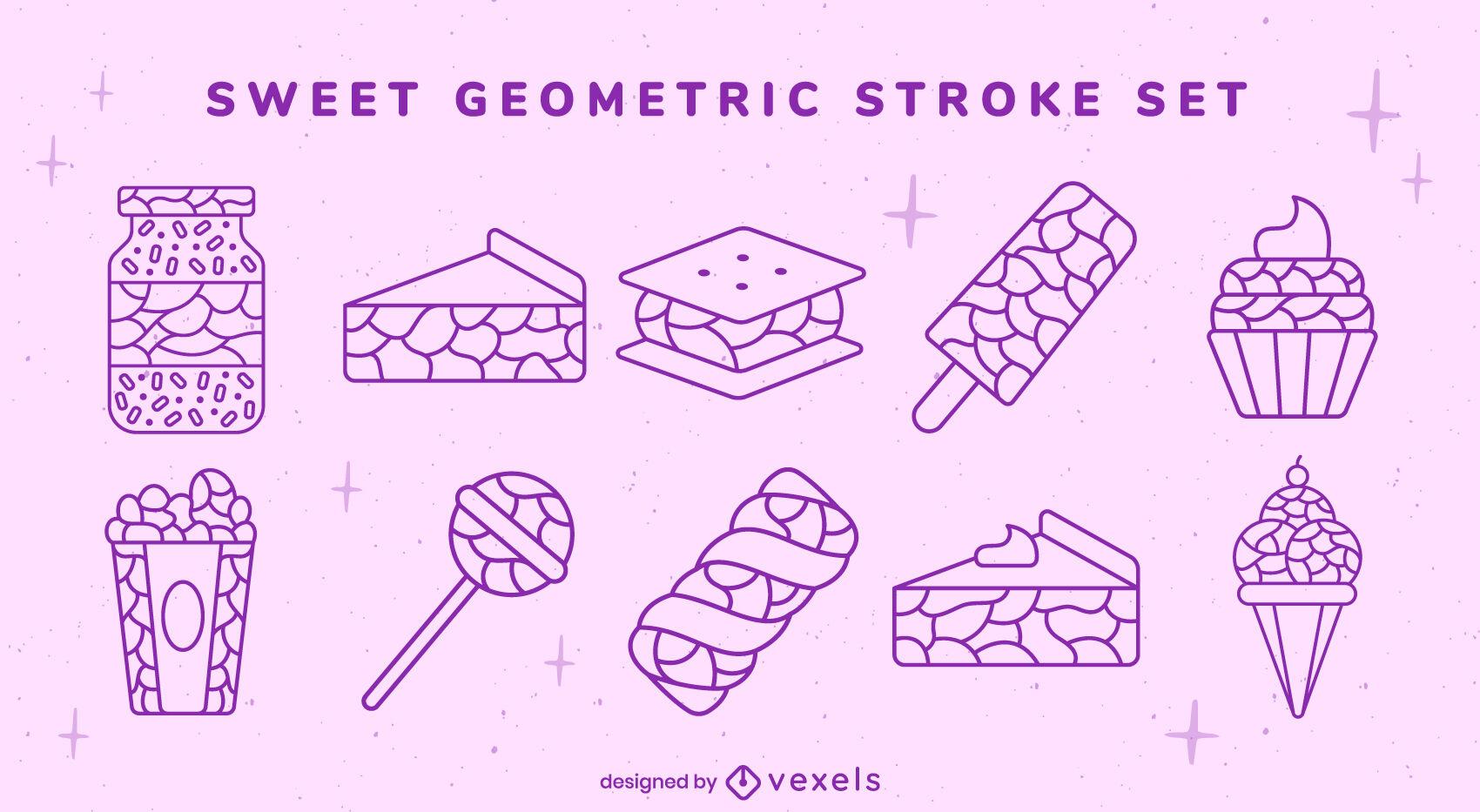 Conjunto de traços geométricos de guloseimas doces