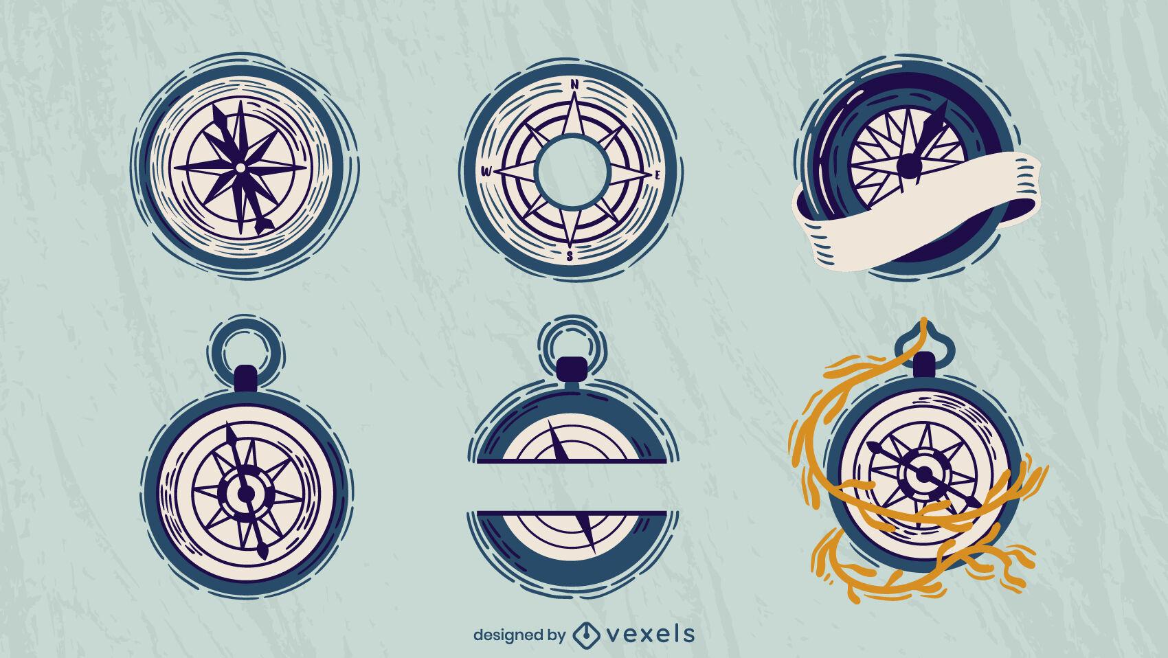 Brújulas de vela puestas planas