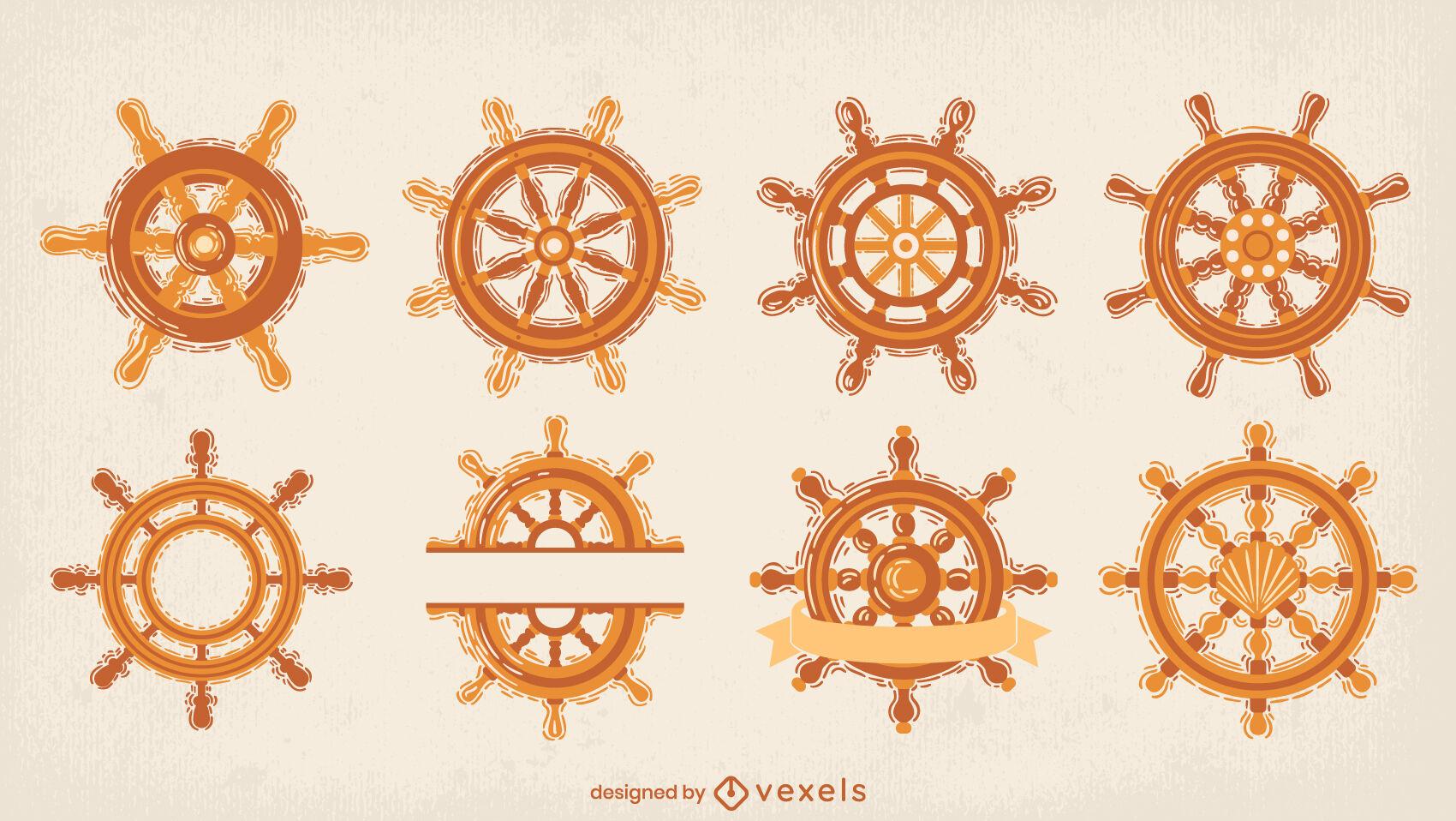 Sailing ship rudder wheels semi flat set