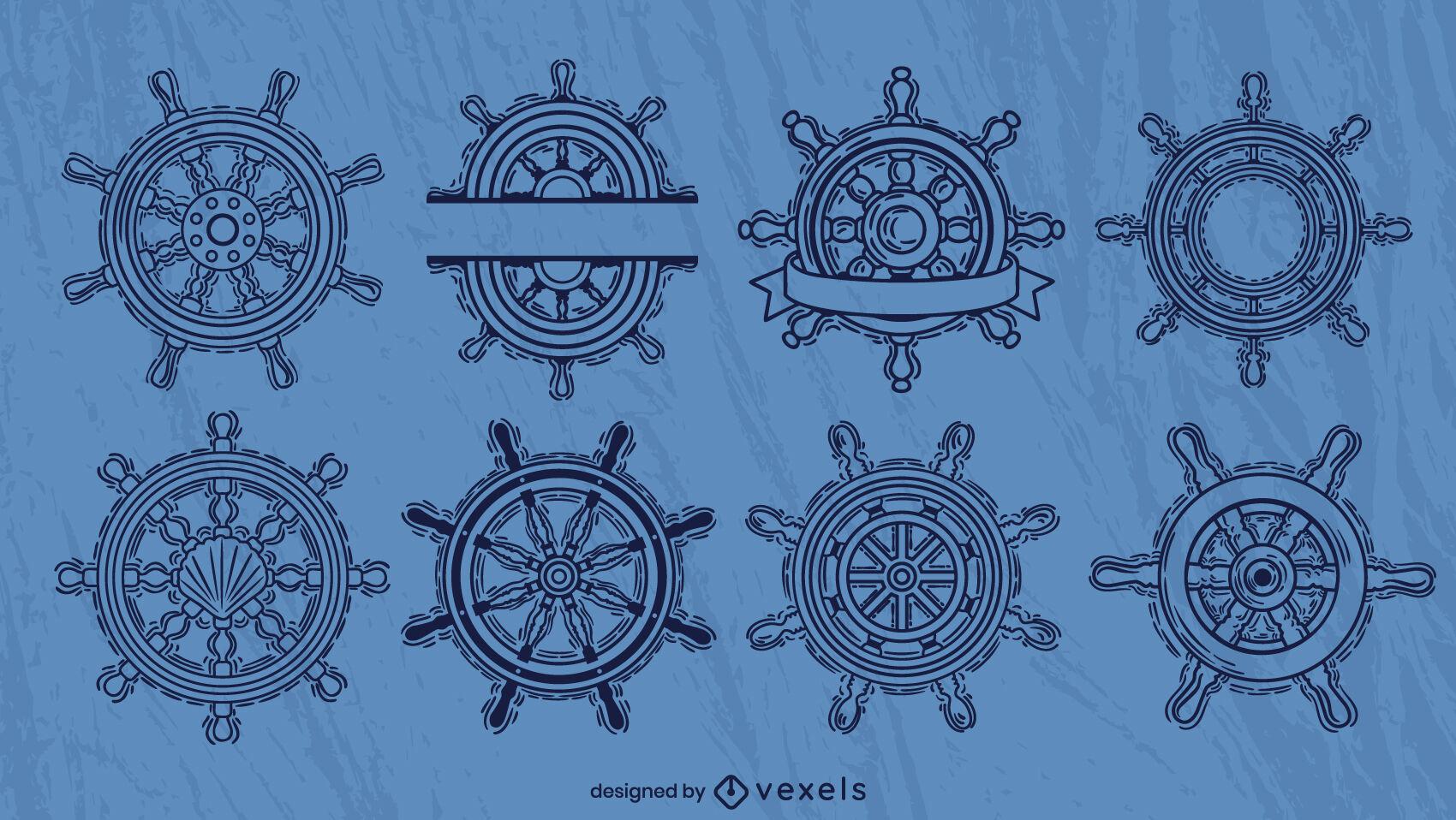 Sailing ship rudder wheels stroke set
