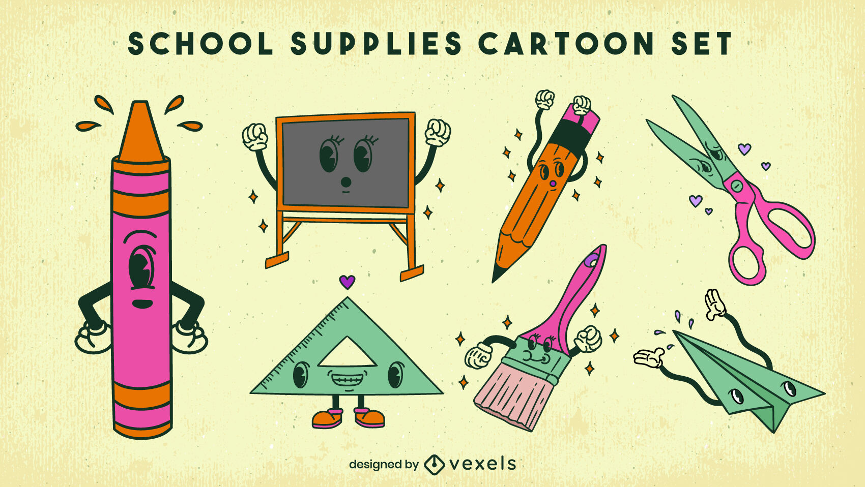 Conjunto de dibujos animados retro de personajes de útiles escolares