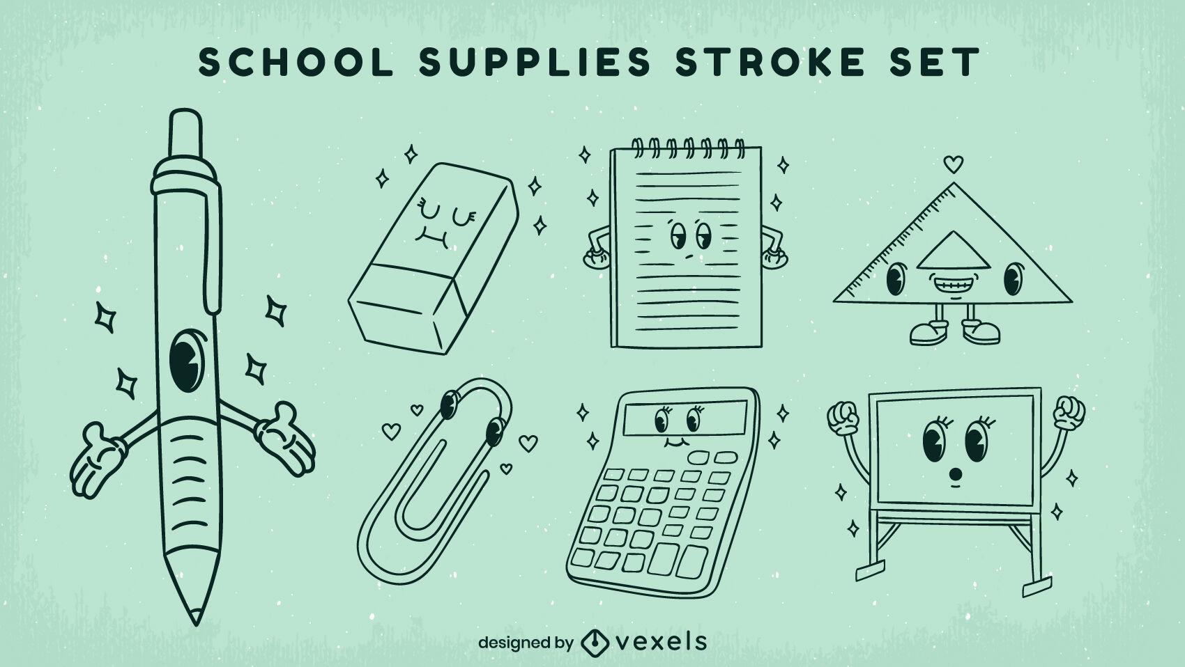 School supplies characters retro cartoon stroke