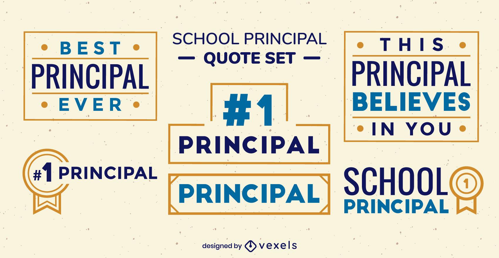 School principal set of filled stroke badges