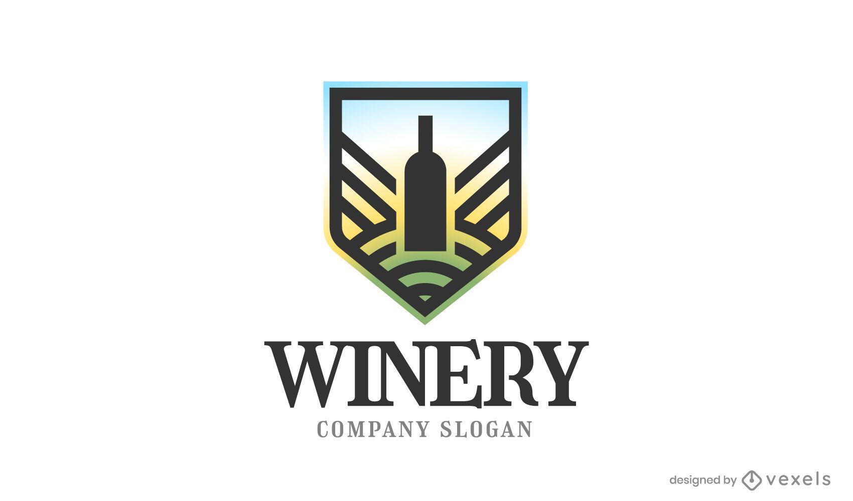 Logotipo de botella de vino degradado
