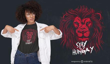 Diseño de camiseta de animal salvaje con cabeza de león.