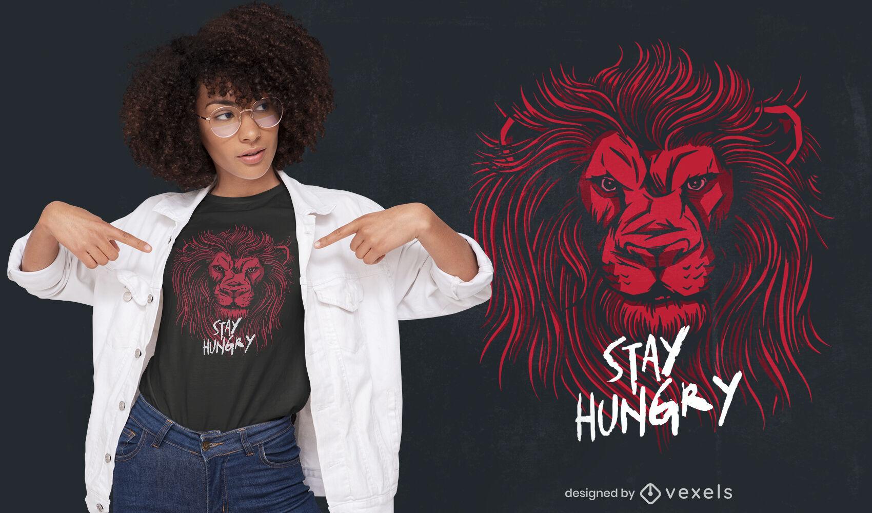 Design de camiseta de animal selvagem com cabeça de leão