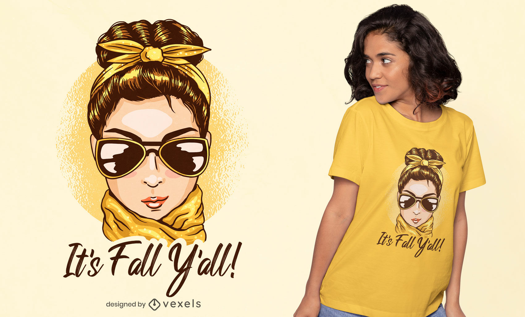 Fashion woman fall season t-shirt design