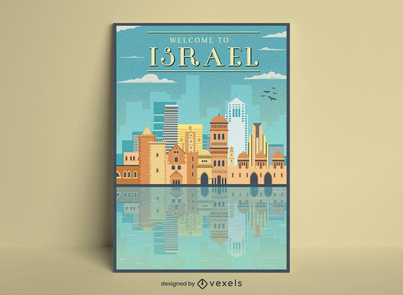 Diseño de carteles de viajes vintage de turismo de Israel