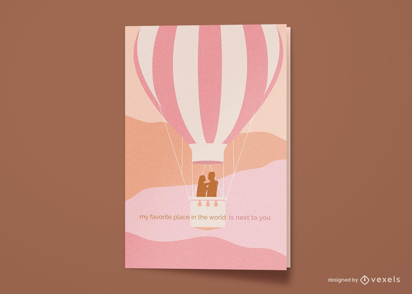 Tarjeta de felicitación feliz aniversario globo aerostático