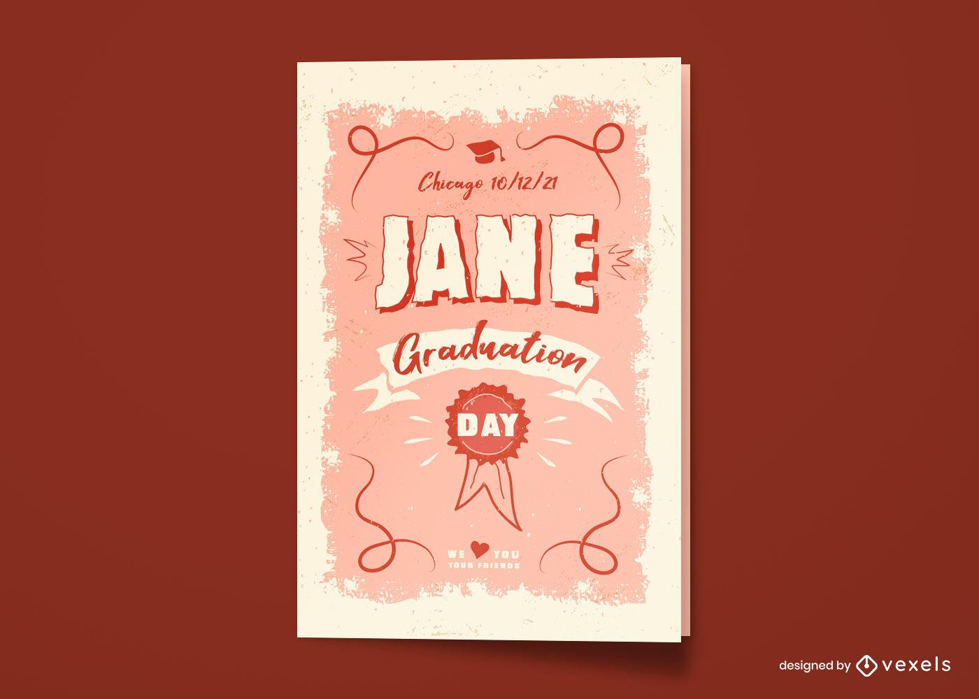 Diseño de tarjeta de felicitación del día de graduación