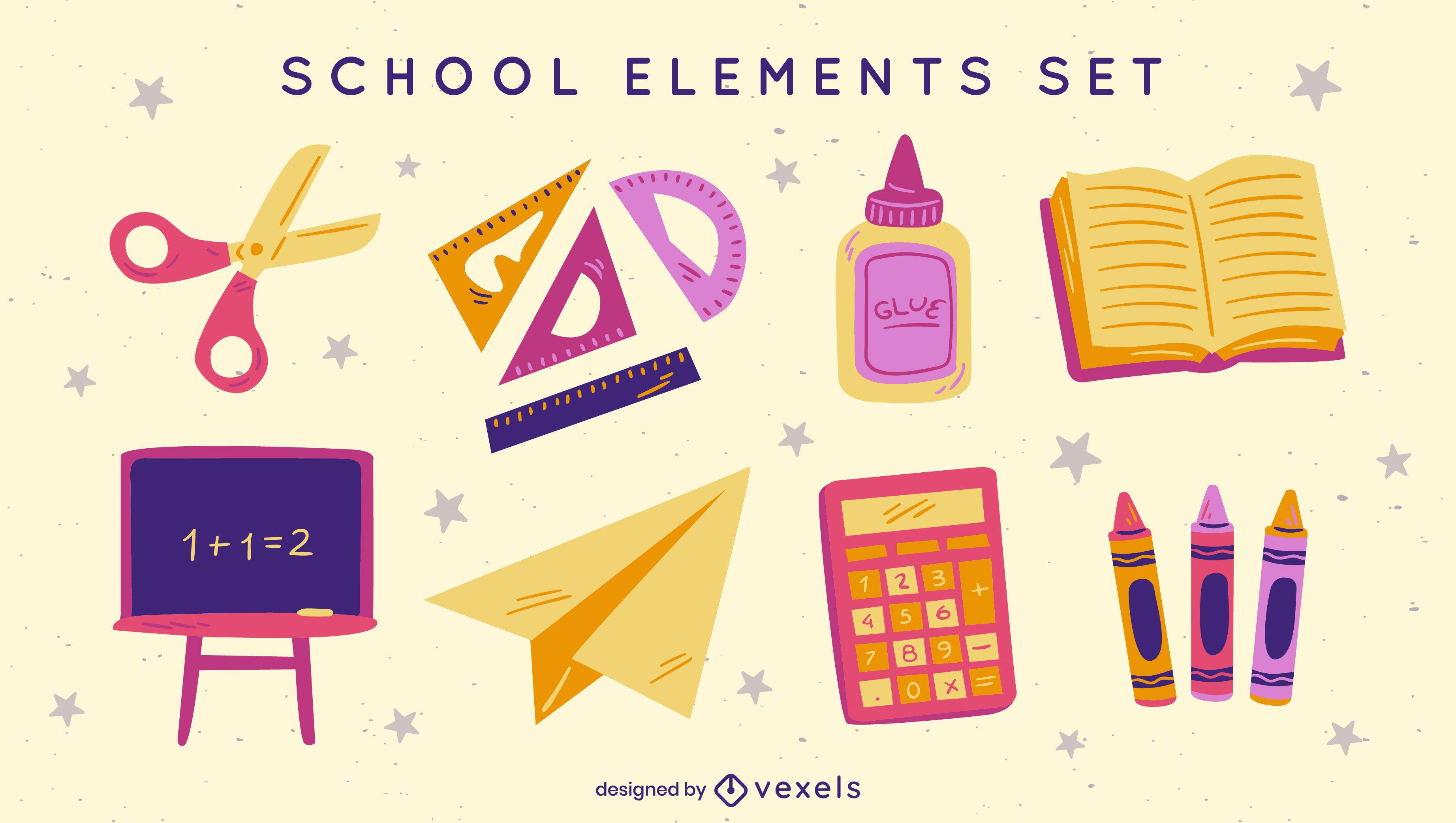 Conjunto de elementos de útiles escolares planos.