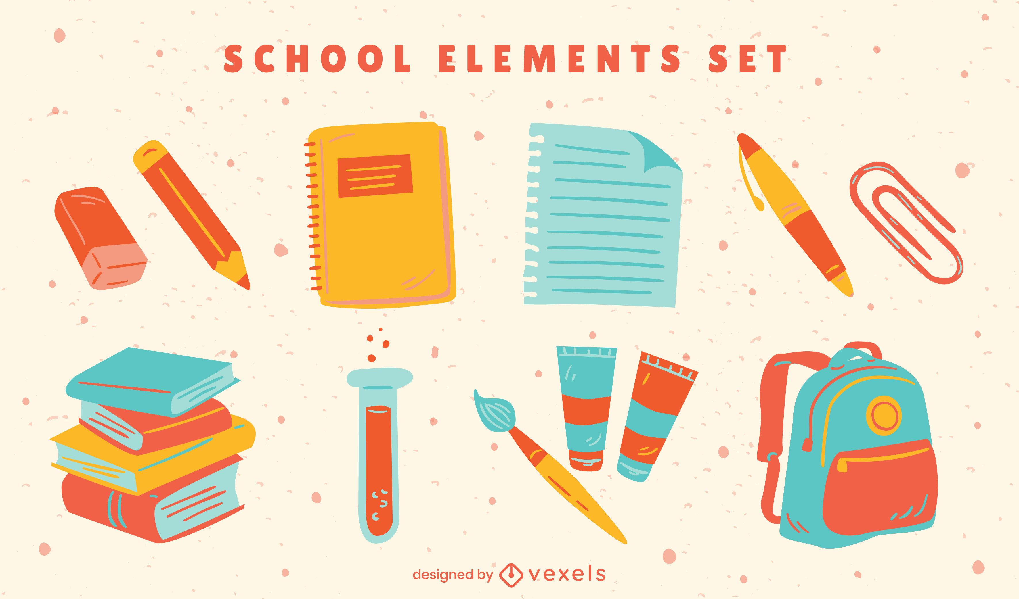 Conjunto plano de elementos de útiles escolares
