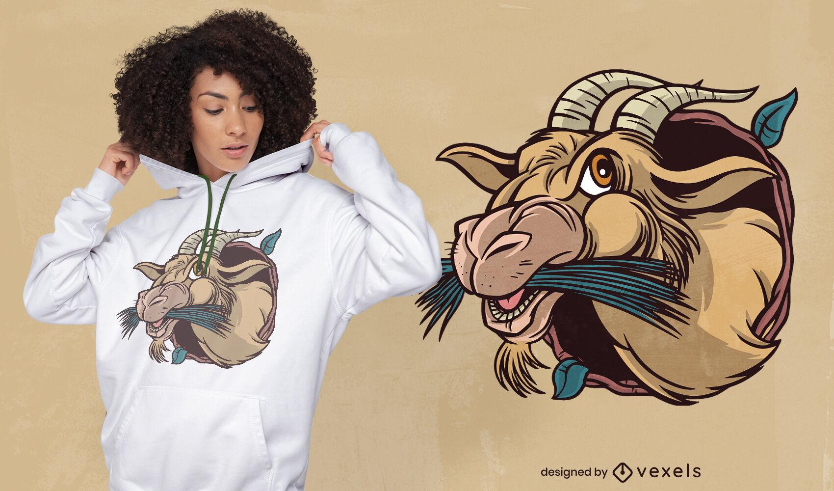 Diseño de camiseta de dibujos animados de cabra comiendo